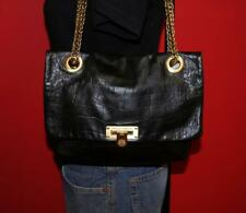 EUC VINCE CAMUTO Croco Embossed Leather Flap Chain Shoulder Tote Purse Bag