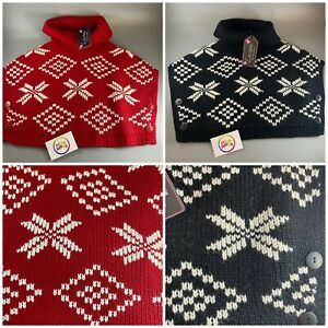 NEW Girls knitted Roll Neck Poncho cardigan red / black festive winter christmas