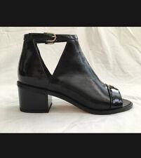CHANEL Black Patent Open Toe Sandal Shoe Booties With Pearl Decor eu 36.5 UK 3.5