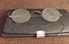 Antique Wire Round Rimmed Eyeglasses W/Case