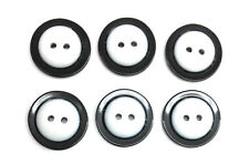 6 Black Buttons With White  Center Imported 2 Hole Center 7/8 Inch Buttons