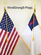 8 FT Deluxe Combo US and Christian Indoor Flagpole Set With Flag Spreaders