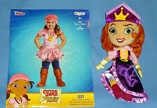 DISNEY IZZY PIRATE COSTUME GIRLS;3T-4T;BOOT COVERS;SCARF;PLUSH DOLL-EUC;LOT-6