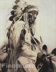 c.1900/72 Vintage EDWARD CURTIS NATIVE AMERICAN INDIAN Cheyenne Chief Photo Art