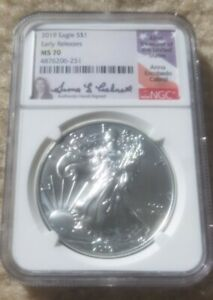 1 oz. 2019 EAGLE MS 70 HAND SIGNED BY ANNA CABRAL