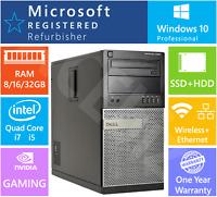 Dell Core i7 i5 Gaming Desktop PC Fortnite CSGO GTAV LoL DOTA WiFi SSD+HDD