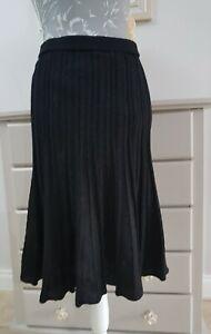 Marina Rinaldi Sport Black Wool Skirt Metallic  Size Large UK 18 lined flare hem