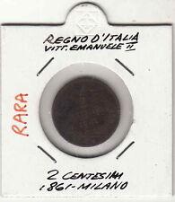 CENT. 2 VITT. EMANUELE II RE D'ITALIA RAME 1861 MILANO DISCRETA CONSERVAZIONE