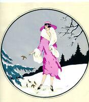 1930s French Pochoir Print Young Flapper Woman Feeding Birds Winterscape Elbet
