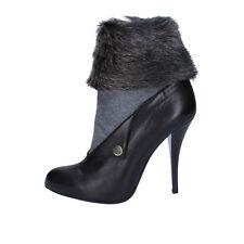 scarpe donna GIANNI MARRA 38 EU tronchetti nero pelle pelliccia BY756-38