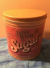 Vintage BALLONOFF TIN METAL CANISTER Brite White Sugar 1970's