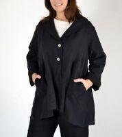 Bryn Walker Black Linen Barnaby Flared Jacket Lagenlook Tunic Pockets Women Sz L