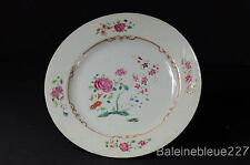 Antique 18th C Chinese Export Porcelain Plate w/ Flowers & Ruby Enamel