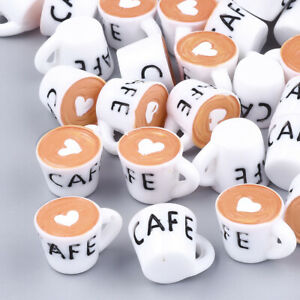 10pcs White Coffee Cup Resin Pendants Cute Dangle Charms DIY Crafting 16x24mm