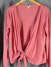 J Jill Medium 3/4 Sleeve Wrap Front Rose Knit Shirt Top Tie