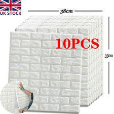 10Pcs 3D Tile Brick Wall Sticker Selfadhesive Waterproof Foam Panel Wallpaper UK
