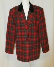 WOMAN BLACK GRAY AND RED PLAID SAG HARBOR LAPEL COLLARED BLAZER SIZE 16