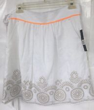 NWT T ELIE TAHARI WHITE LINEN FULL SKIRT TAUPE EMBROIDERY JESSICA SIZE 8 P $98