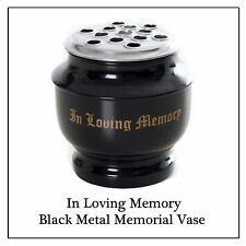 Black Memorial Vase - Metal Flower Pot Gold Text for Grave Side Cemetery Funeral