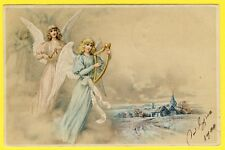 cpa fantaisie - Anges harpe musique céleste village angeli musica arpa angels