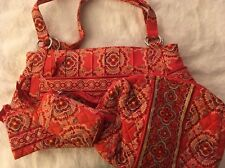 VERA BRADLEY Set Of Four PURSE ID Wristlet WALLET Coin BAG Makeup Bag Exc Cond