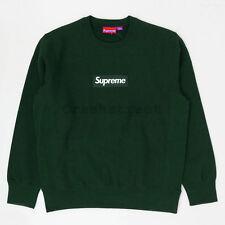 Supreme FW18 Box Logo Crewneck split hooded long sleeve sweatshirt Dark Green