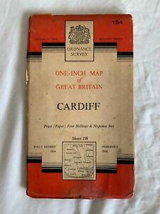 Vintage Ordnance Survey Map Sheet 154 - Cardiff OS Map -1956
