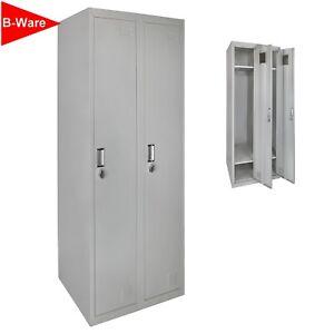 B-WARE Garderobenschrank Doppelspind 180x60x50cm Farbe Grau-Grau Metallschrank
