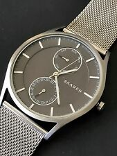Skagen Holst Mens Unisex SKW6172 Silver Mesh Metal Chronograph Wrist Watch NWT