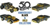 Hot Wheels 50th Anniversary Black & Gold Collection - Choose Your Favourites!