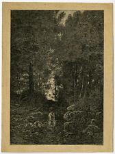 Original Print-LANDSCAPE-FOREST-NUDE-WASHING-Breton-Pirodon-Comte-ca. 1860