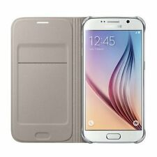 SAMSUNG Galaxy s6 CUSTODIA FLIP WALLET GOLD EF-WG 920 pfeg NUOVO Card Pocket 24 HR POST