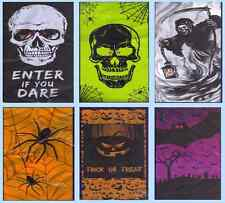 Lighted Door Wall Cover Halloween Mural Skull Bat Spider Grim Reaper Pumpkin