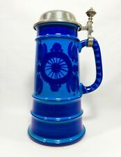 MODERNIST W. GERMAN HAND-DECORATED COBALT/CERULEAN PORCELAIN STEIN W/PEWTER LID