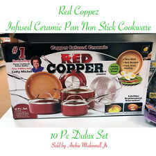 Red Copper Infused Ceramic Pan Non Stick Cookware 10 Piece pc Set As Seen On TV