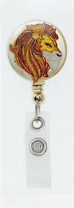 LION Retractable Badge Reel ID Card Holder/Key Ring/Security Chain Jungle gold