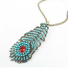 VINTAGE BOHEMIA STYLE BLUE PEACOCK FEATHER PHOENIX CRYSTAL PENDANT NECKLACE