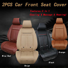 2PCS New 3 in 1 Leather Car Front Seat Cover Cushion Cooling Warm Heated Massage
