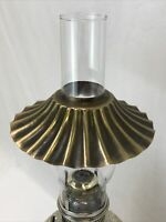"Vtg ""Brass"" Ruffle Petticoat Pleat Oil Lamp Shade Hurricane Chimney Fitter 2"" 7"""