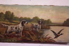 Dipinto olio su tela raffigurante scena di caccia con segugi oil on canvas