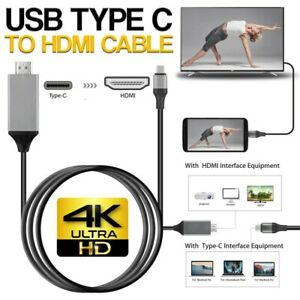 USB-C Type C to HDMI Cable 4K HD TV Converter Adapter For Huawei Samsung Macbook