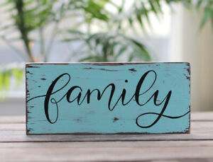 Wood Sign Family Farmhouse Photo Wall Decor Robin Egg Blue - Custom Hand Painted