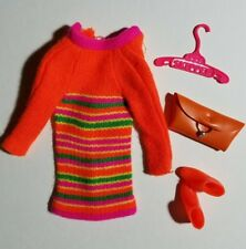 Vintage Barbie Skipper #1956 Skimmy Stripes Knit Dress, Orange Booties + Extras