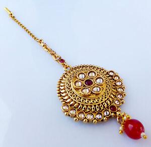 Indian Golden Head Decoration Polki Wedding Polki Ruby Cz Jhoomar Manng Tikka t2