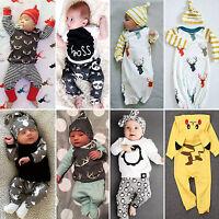 Recién Nacido Bebé Niño Pequeño Niña Informal Pelele Camisa Pantalones Gorro