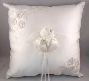 NEW Wedding Ring Pillow White Silk 3 Rose Pearls Embroidery Work