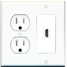 1 Port HDMI 2.0 Wall Plate w/Tamper Resistant Power Outlet