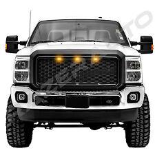 11-16 Ford Super Duty Raptor Matte Black Mesh Grille+Shell+Amber 3x LED light