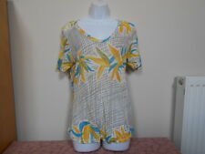 Zara Linen V-Neck Floral Oversize Style T-Shirt Top - S/UK8