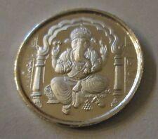 Diwali Ganesha 5 Gram Silver Coin w Shree Praying India Hindu God New Year